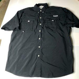 Columbia PFG Black Fishing Shirt Size Large